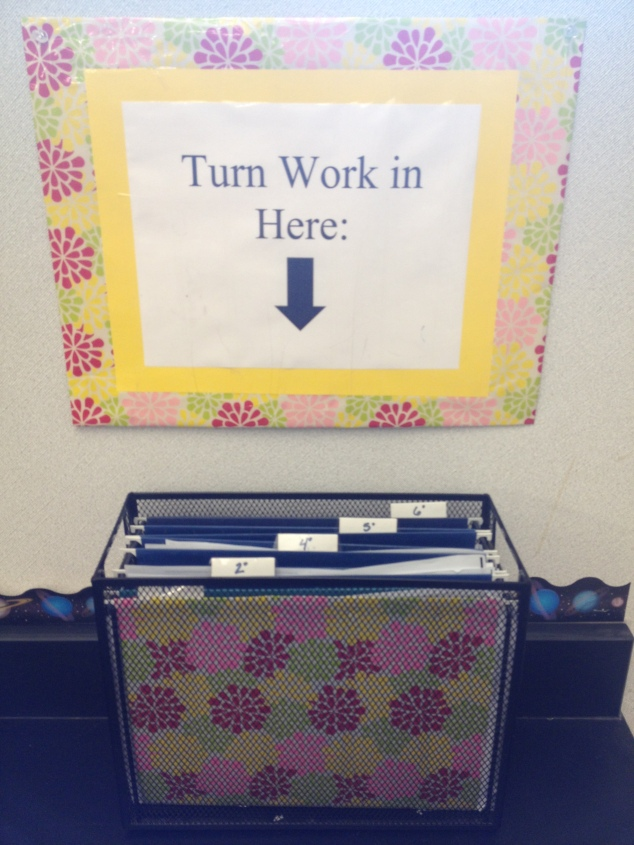 """In box"" for collecting student work"