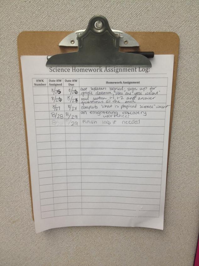 Homework Log
