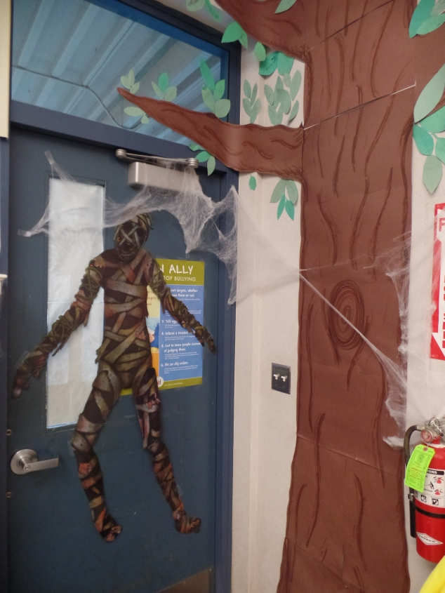 This mummy greets students as they enter the classroom!