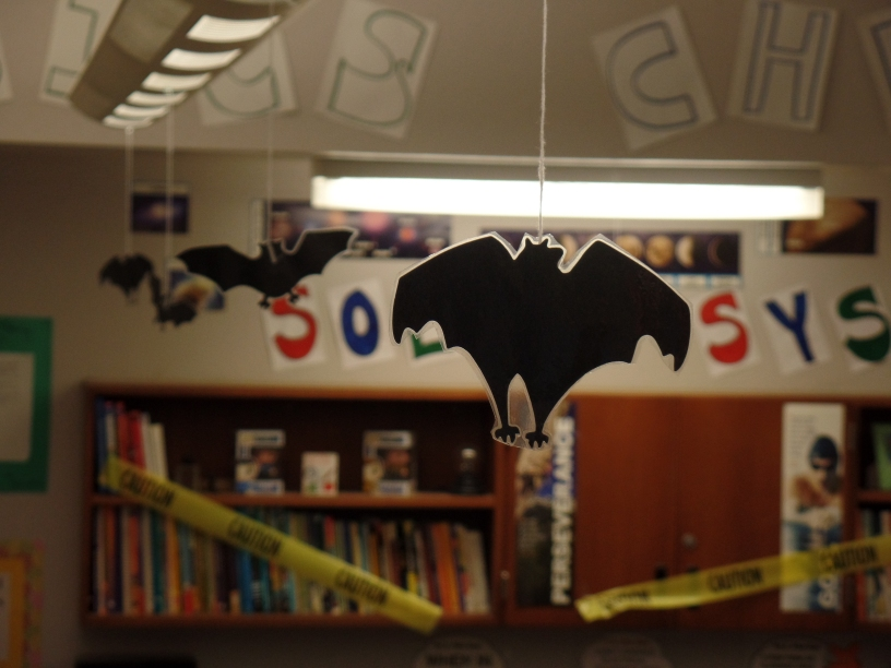 Inspirational photos on decorating your secondary classroom for Halloween! The big kids want to have fun too! Don't forget them! :)  Photo Credit: www.theardentteacher.com