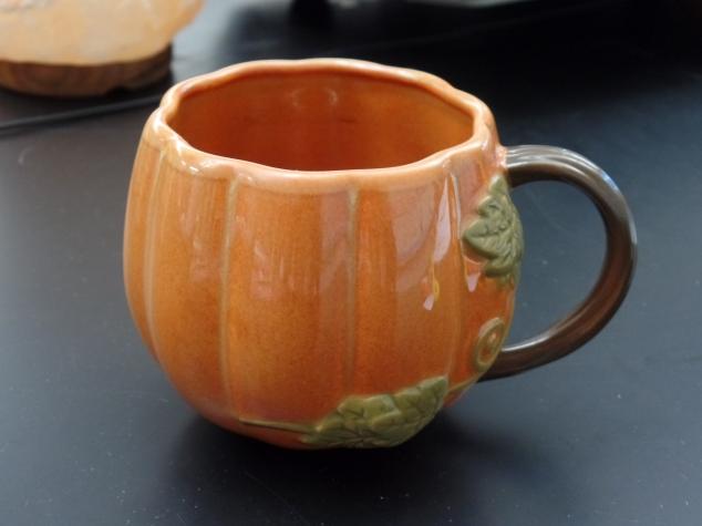 A pumpkin mug is perfect for enjoying afternoon tea!
