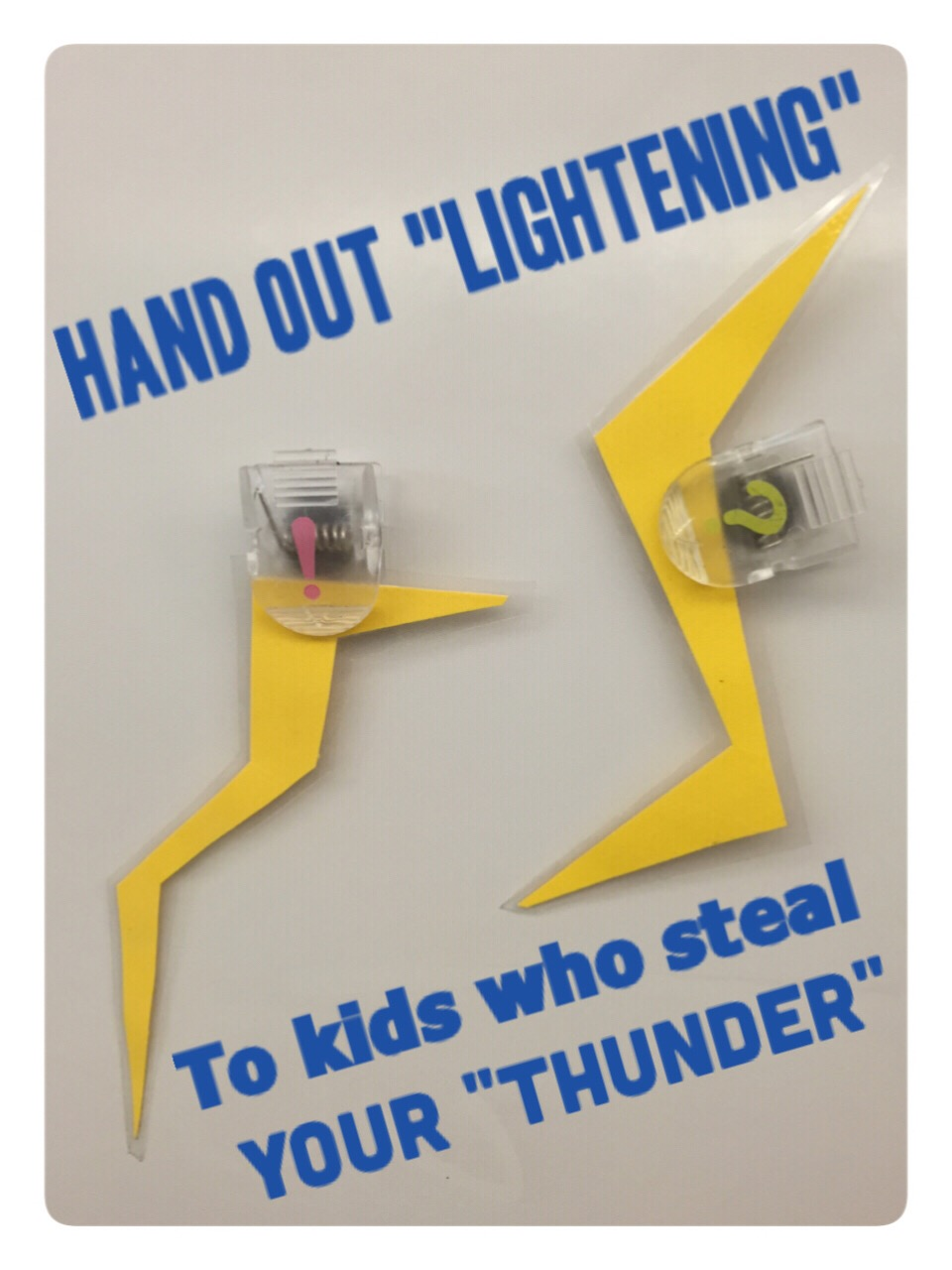 """Reluctant student participation? Hand out lightening bolts to students who """"steal your thunder"""" and guess what you are about to say!  www.theardentteacher.com"""