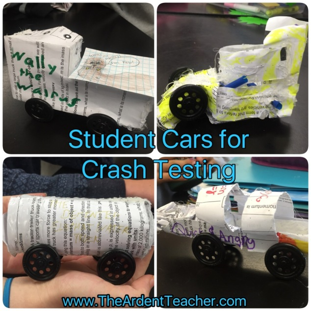 STEM Car Crash Project Examples www.theardentteacher.com