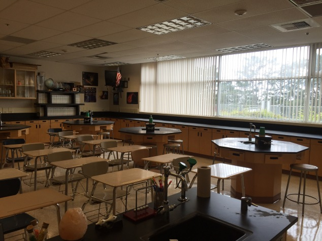I have a wonderfully large window along one wall of my classroom that overlooks some beautiful trees outside as well as our football field. It gives great light throughout the day, especially in the afternoon!