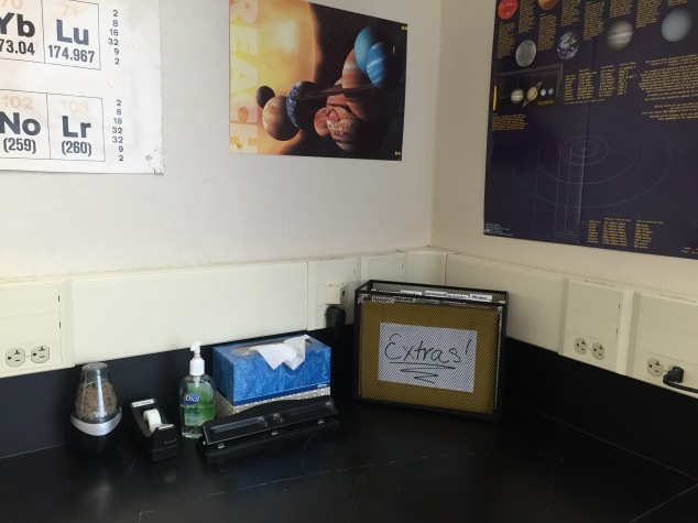 Here is one of my other student stations, with all of the same supplies. The only other difference is that this one has all of the extra worksheets/handouts from class rather than the turn-in folder.