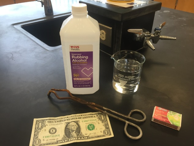 Basic supplies needed for this demo: isopropyl (rubbing alcohol), 250ml beaker, matches/lighter, tongs, dollar bill. Not shown: safety goggles and a fire extinguisher (just in case!).