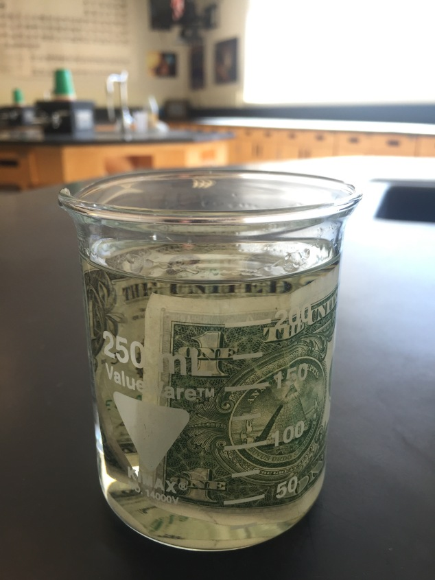 The Isopropyl should be diluted so it's 50/50 Isopropyl and water. Add a pinch of salt to help increase the boiling point of the water (this will help keep the dollar bill from burning). Place the bill in the solution and allow it to soak for a few minutes.