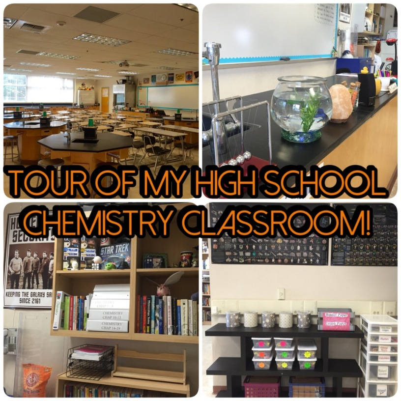 Enjoy a tour of my new classroom: High School Chemistry!