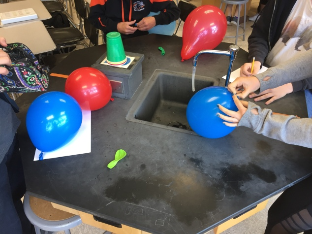 Students work together to blow up their balloons before they start to build their orbitals.